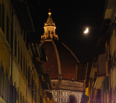 Duomo at night with Moon