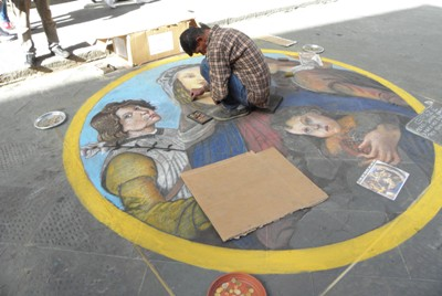 Street Artist on the way to Piazza della Republica