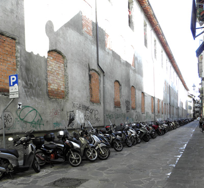 Scooter and motorcycle row